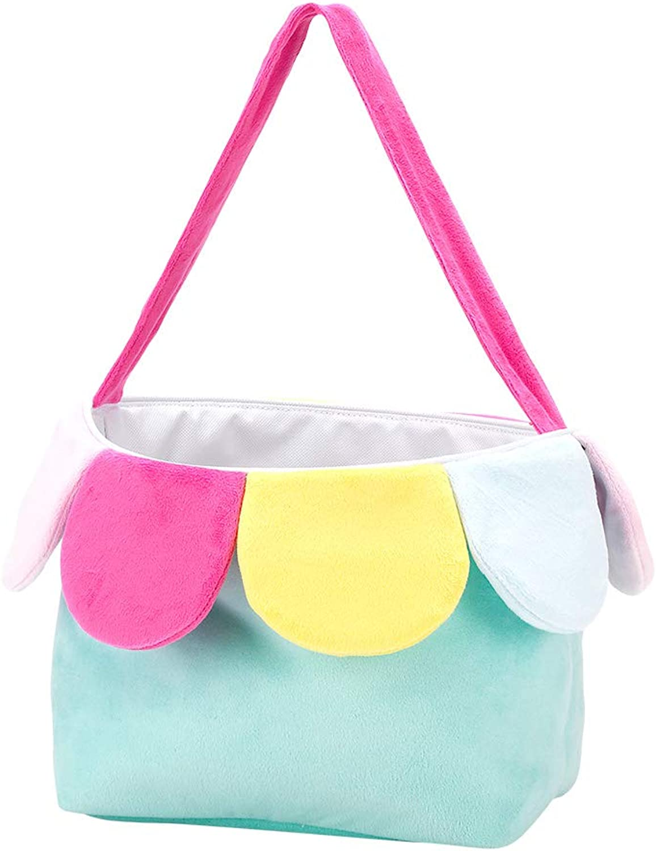 WB Flower Petal Aqua 9 x 8.5 Inch Plush Polyester Easter Bucket
