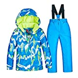 lahomia Chaqueta Y Pantalones de Esquí/Snowboard con Capucha para Niños, Niñas Y Niños a Prueba de Viento - Blue Size 14(141-150cm)