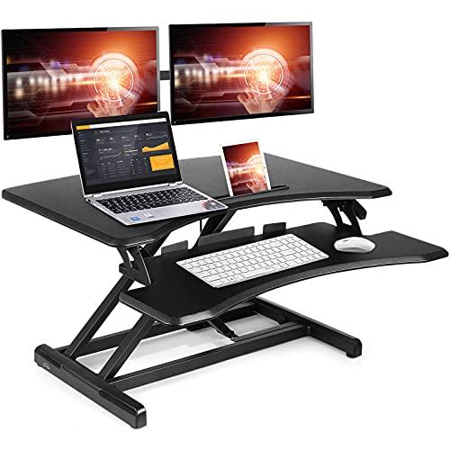 SIMBR Standing Desk Converter 30.2 Inch Computer Desk for Home Office Sit to Stand Desk Height Adjustable Gas Spring Desk Riser Stand up Desk Workstation with Keyboard Tray