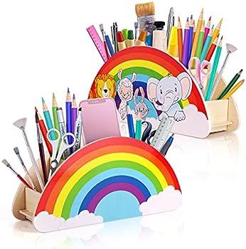Springflower Rainbow Decor Wooden Pen & Pencil Holders