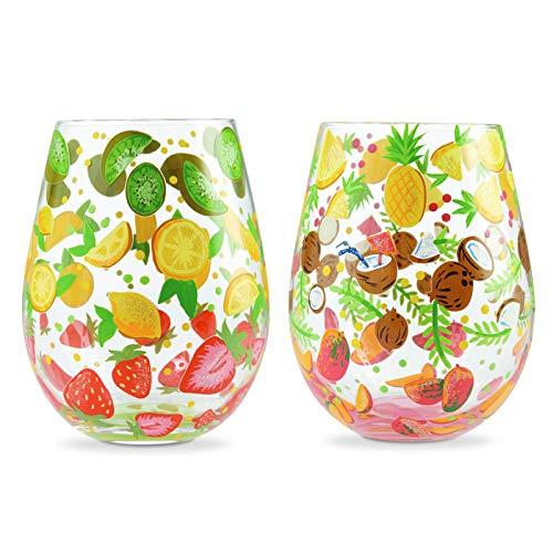 Enesco Designs by Lolita Tutti Fruiti - Juego de copas de vino artesanales pintadas a mano, 20 onzas, multicolor