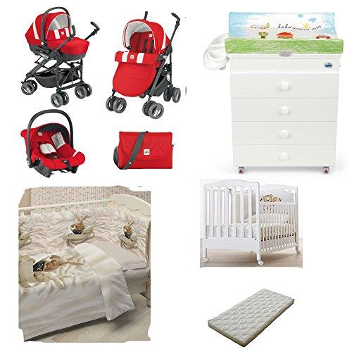 Cam - Poussette Trio Combi Baby + lit bébé Web + table à langer Asia + couette et Tour de lit avec impression photo + matelas 377 ROSSO