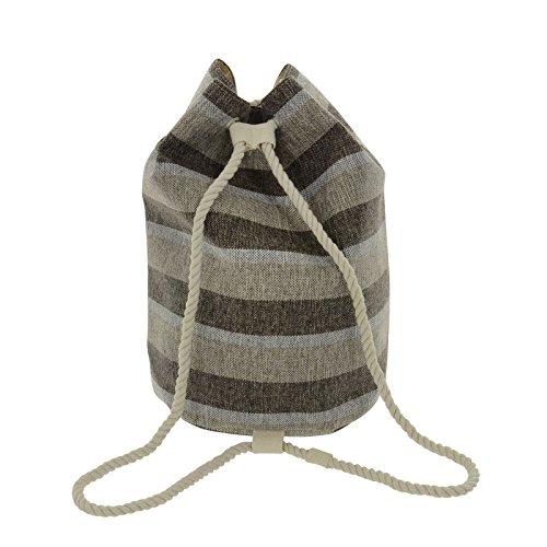 Lazy Beach Bag Duffle Bag Grey Stripe Magentic Fastener Twisted Rope Handles Phone Pocket