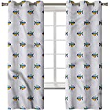 Cortinas opacas impresas en 3D, con ojales térmicos aislados para acuario, acuarela abstracta animal, 2 paneles de 42 x 63 pulgadas, cortinas para oscurecer la habitación para sala de estar