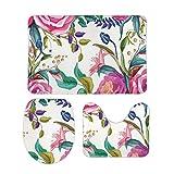 Juego de 3 alfombras de baño de terciopelo coral con diseño floral rosa × Centifolia Rose Familia para salón para baño y dormitorio