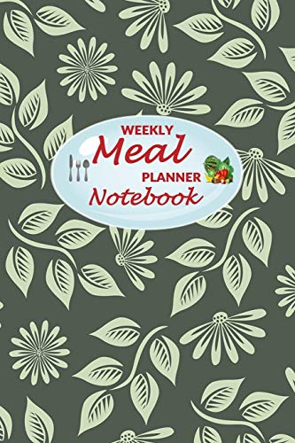 Weekly Meal Planner Notebook: 52 Weeks of Food Menu Planning with Grocery Shopping List, Recipe pages Size 6x9 in | Green Leaves Print