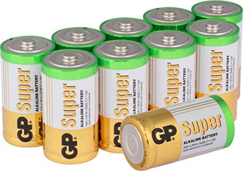 Batterien C/Baby / LR14, GP Super Alkaline 1,5V, 10 Stück Babyzellen im Vorratspack GP Batteries, Lange Haltbarkeit