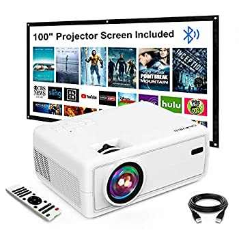 """Mini Projector GROVIEW Outdoor Movie Projector with 100"""" Projector Screen 1080P HD Supported Portable Projector Compatible with Fire Stick,HDMI,VGA,USB,TVBox,Laptop,DVD"""