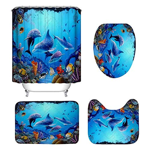 FHC 4 Ke bathroom hook 12 is provided with a cover slip base carpets, bath mats toilet cover assembly curtain 3D marine deep dolphin,4pcs set
