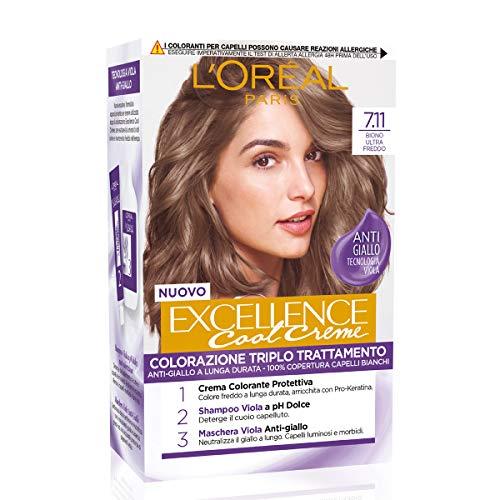 L Oréal Paris Tinta Capelli Excellence Cool Creme, Copre i Capelli Bianchi, Colore Ricco dai Toni Freddi, 7.11
