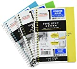 Five Star Spiral Notebooks, 1 Subject, College Ruled Paper, 100 Sheets, 7' x 5', Personal Size, Teal, Yellow, Lime, 3 Pack (38644)