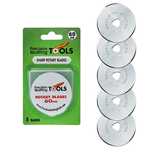 60mm Rotary Cutter Blades (PACK OF 5) SKS-7 Carbide Tool Steel, Fits Fiskars, Olfa, Truecut. Perfect blade for Fabric, Quilting, and Arts & Crafts