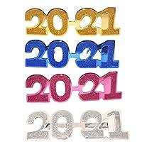 VALICLUD 2021メガネ大晦日メガネ新年パーティー眼鏡グリッター2021サングラス卒業誕生日ハロウィーンお祝いパーティー好意4ピース