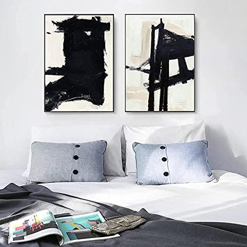 SXXRZA Hermosa Imagen 2 Piezas 60x80 cm sin Marco Giclee Art Pintor Abstracto Franz Klein Famosa reproducción de Pintura al óleo Cartel Abstracto impresión Sala de Estar