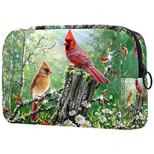 Neceser para Mujer, Estuche de Maquillaje, Neceser de Viaje, Organizador de Accesorios, Animal primaveral, Cardenal, pájaros