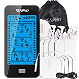 RENPHO SM TENS Unit Touchscreen, Muscle Stimulator Electric Massager with 8 Replacement Pads, Muscles Stimulator Machine for Pain Relief Therapy, Dust-Proof Drawstring Storage Bag
