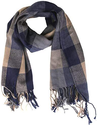 hsj LF- Mode-Frauen Lange Kaschmir-Schal-Tassel Plaid-Schal-Verpackung Warmer Winter Schal Blau Lernen