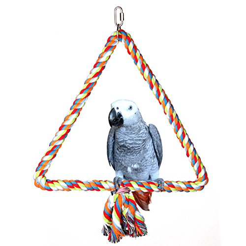 KINTOR Medium Triangle Rope Swing Bird Toy Parrot Cage Toys Cages Conure African Grey