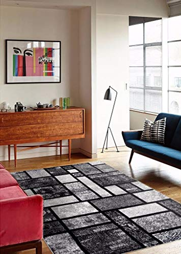 Persian-Rugs T1007 Abstract Modern Area Rug Carpet, 7'10 X 10'2, Gray Black White - This product already exist in the Amazon catalog High quality polypropylene Stain resistant - living-room-soft-furnishings, living-room, area-rugs - 51wP2RFOGAL -
