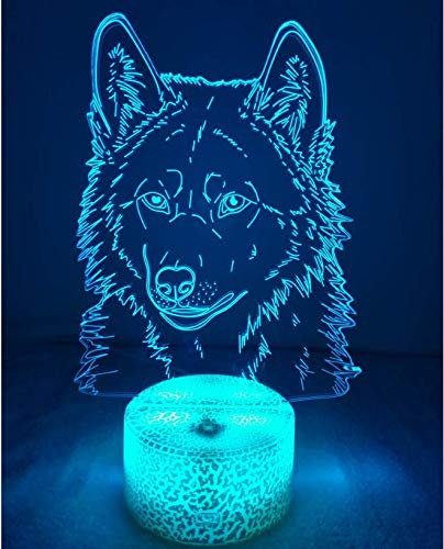 3D Wolf Lampe USB Power 7 Farben Amazing Optical Illusion 3D wachsen LED Lampe Formen Kinder Schlafzimmer Nacht Licht.