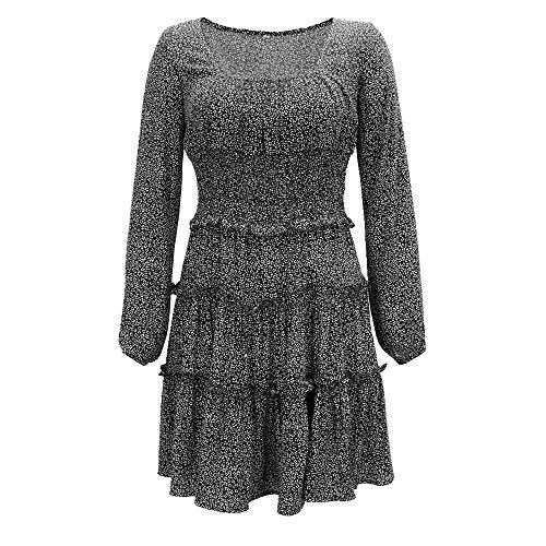 N\P Vestido casual de verano de las mujeres de rayón lavanda de manga larga floral