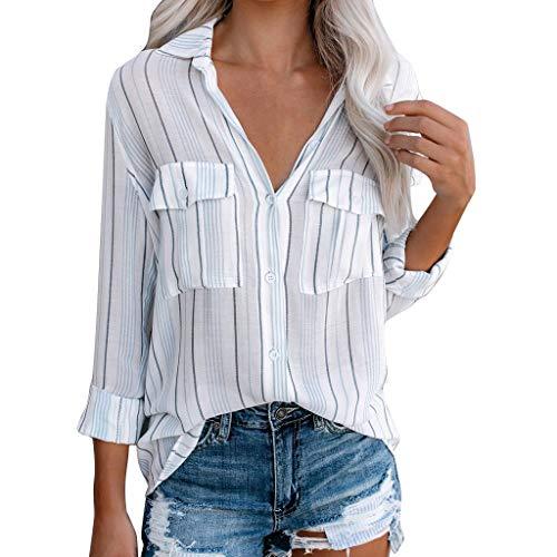 Lulupi Hemd Frauen Blusen Elegant Sommer,Damen Streifen Oberteil V-Ausschnitt Bunte Gestreifte Freizeit Lose Vintage Tunika Langarm-Taste T-Shirt Tops