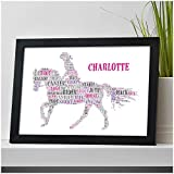 Personalised Horse Gifts for Her, Daughter, Granddaughter, Friends, She - Horse Riding Equestrian Gifts for Girls - Horse Birthday Christmas Gifts for Her - Girls Bedroom Wall Art Print