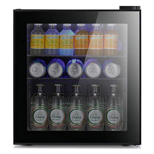 Antarctic Star Mini Fridge Cooler - 70 Can Beverage Refrigerator Glass Door Small Drink Soda Beer Wine Cooler Dispenser Machine Black Glass Removable for Home, Office or Bar, 1.6cu.ft.