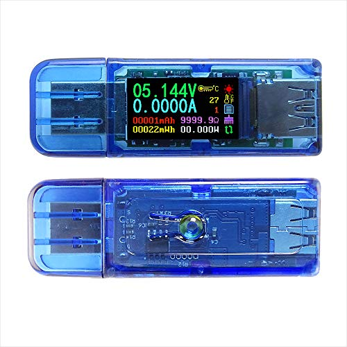 Riden USB C Digital Power Meter Tester 3.0, USB Spannung und Stromzähler, USB-Ladegerät-Tester, Multimeter-Voltage-Tester, Color LCD Display Tester, USB Load