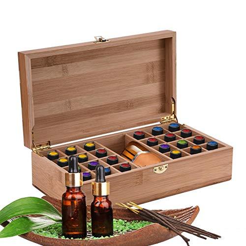 Caja de aceite esencial, Caja de almacenamiento de aceite esencial 25 cuadrículas, organizador de aceite esencial de madera, adecuado para 5ml 10ml 15ml Botellas, para viajes y presentaciones