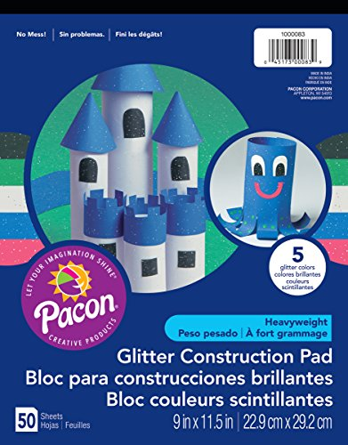 """Pacon Glitter Construction Paper Pad, 5 Assorted Colors, 9"""" x 11-1/2"""", 50 Sheets"""