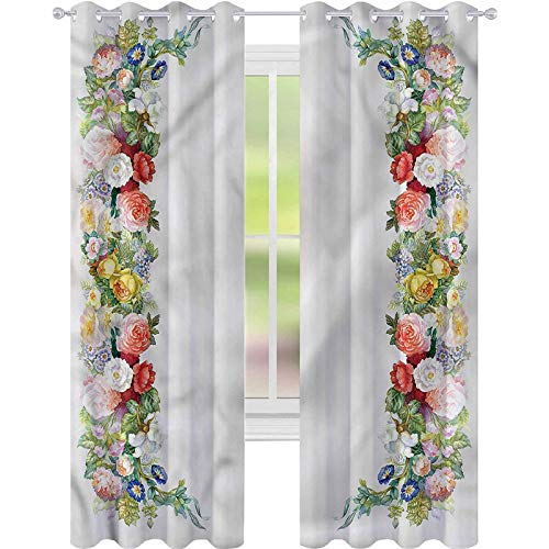 YUAZHOQI Blackout Curtains Victorian Rose Garland Pastel Curtains for French Doors 52' x 95'(2 Panels)