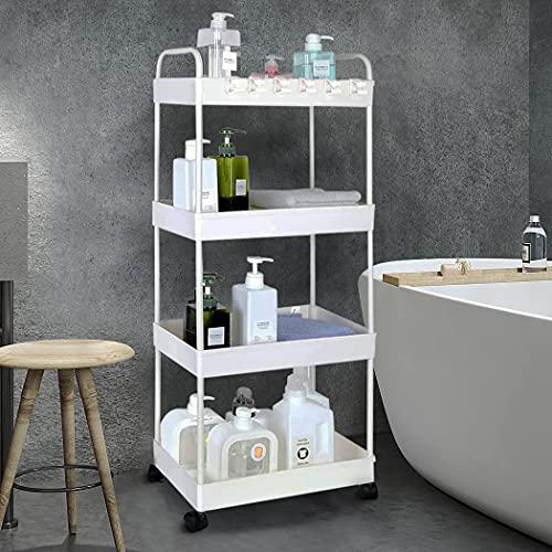 Conworld Carrito de almacenamiento de 4 niveles delgado, estantes estrechos para organizador de baño con ruedas, estantería móvil con asa para biblioteca, lavandería, cocina y dormitorio, color blanco