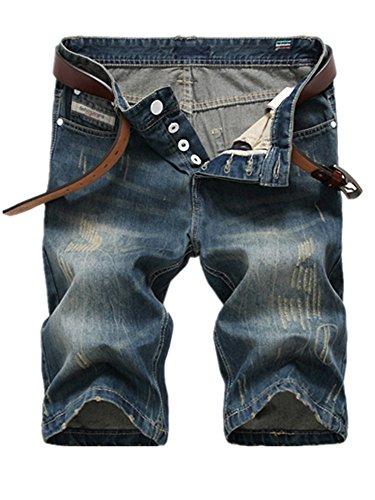 Blansdi Sommer Herren Jeans Shorts Denim Hosen Kurz Hose Bluejeans Chino Hose Blau Jeans Regular Fit Freizeithose Röhrenjeans Stretch Straight Destroyed Denim Basic Jeans Lochjeans