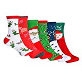 YQing Calcetines de Navidad, 6 Pares Calcetines Navidad Mujer Santa Claus Muñeco de Nieve Calcetines de Felpa Cálidos Calcetines Navidad Regalo Calcetines para Adultos Cómodo Calcetines