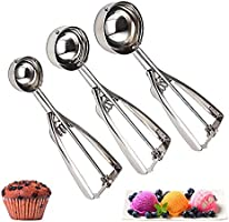 Cookie Scoop Set of 3 - Stainless Steel Ice Cream Scooper with Trigger, Small, Medium and Large Cookie Scoops for Baking,...