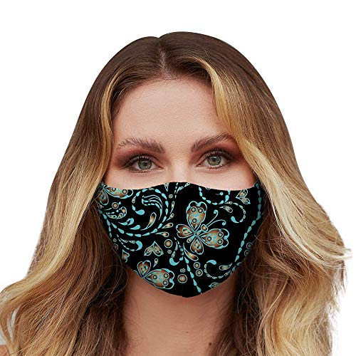 Washable Face Mask with Adjustable Ear Loops & Nose Wire - 3 Layers, 100% Cotton Inner Layer - Cloth Reusable Face Protection with Filter Pocket - (Seamless Butterfly