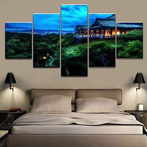 Aicedu kunstdruk op canvas, modulair, foto, HD, kunstdruk op canvas, Boeddha, 5-delig, Home Decor, wand, lijst voor nachtkastje, achtergrond L-30x40 30x60 30x80cm Geen frame