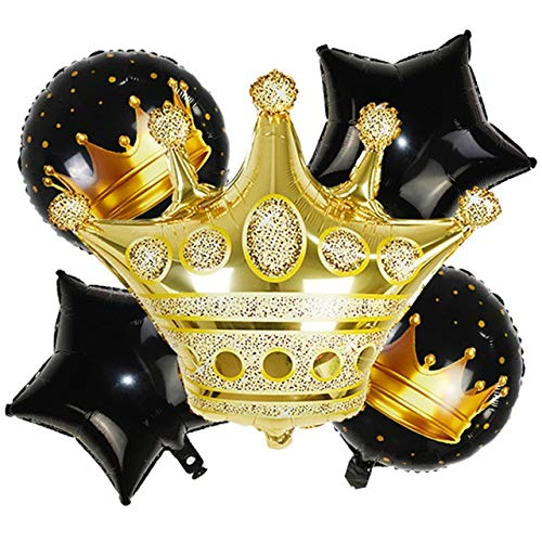 YSDSPTG Balloon Crown Birthday Foil Balloon Set Gold Black Number Balloon Children's Birthday Party Holiday Supplies (Color : Black B01)