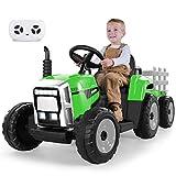 METAKOO Tractor Eléctrico 12V 7Ah 2+1 Cambio de Marchas, Tractor Juguete de Montar con Faro de 7...