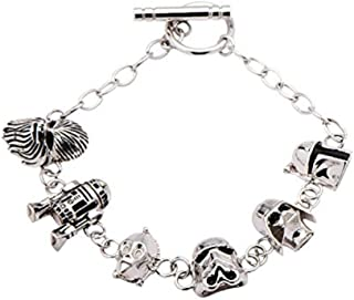 Disney Women's 925 Sterling Silver Star Wars 3D Character Toggle Clasp Bracelet - 7.5