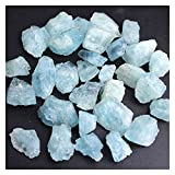 YSJJAXR Cristal Natural Rugoso Natural Azul áspero Chips de Aguamarina Crudo triturado Piedra curación Muestra Mineral Cristal joyería Haciendo en el hogar decoración Acuario (Farbe : Big 30g 4-7pcs)