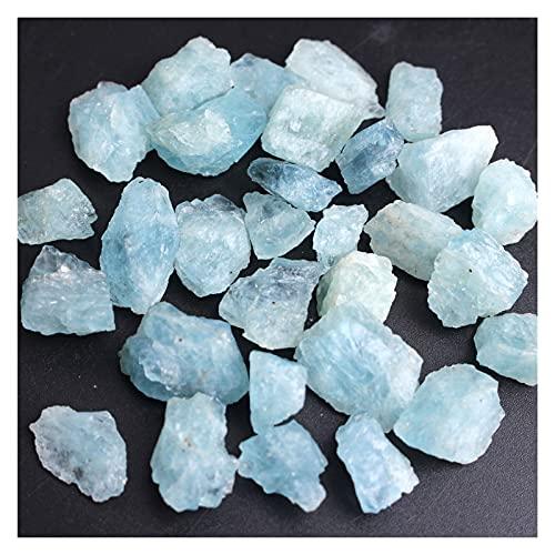 Yinyimei Piedra Natural Natural Azul áspero Chips de Aguamarina Crudo triturado Piedra curación Muestra Mineral Cristal joyería Haciendo en el hogar decoración Acuario (Farbe : Small 50g 18-30pcs)