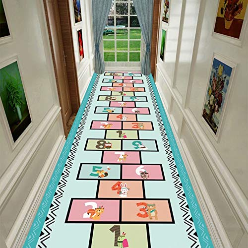 Rug Kids Play Rug Mat 3D Hopscotch Game Rug for Indoor/Outdoor Playing Use, Interesting Long Mats Baby Child Safe Crawling Mats Easy to Clean (Size : 100×700cm)