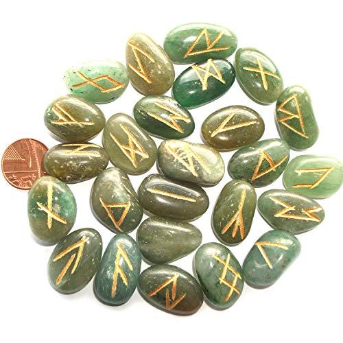 Grüne Aventurin Runen Steine & Beutel, Ältere Futhark heidnische Runen Alphabet für Wahrsagung und Wahrsagung
