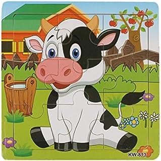 Puzzle de Madera, Holacha Jigsaw de Animales Juguetes Educativos - útil para el desarrollo de la imaginación y el reconocimiento de color y forma para bebe niños Regalo (Vaca lechera)