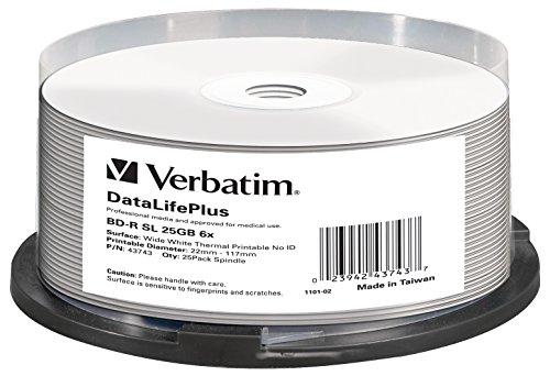 VERBATIM BD-R Blu-ray Rohlinge 25 GB I Blu-ray-Disc mit 6-facher Schreibgeschwindigkeit I 25er-Pack Spindel I großflächig thermisch bedruckbar I Blu-ray-Disks für Video- und Audiodateien