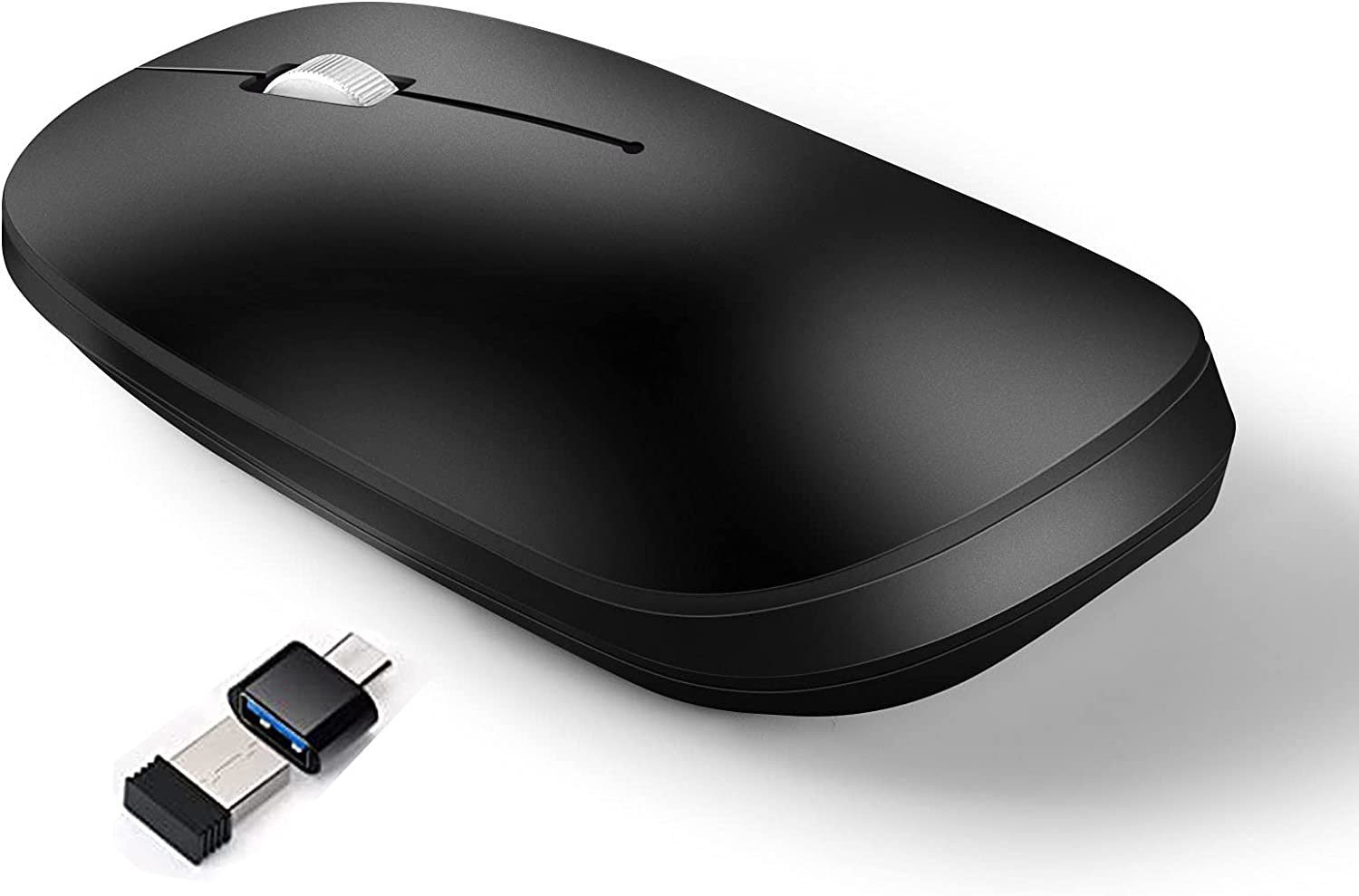 E&G Rechargeable Bluetooth Mouse Notebook Wireless Mouse Three Modes, Computer, Mobile Phone, Notebook Computer, PC, Notebook Computer and MacOS Series Compatible Wireless Mouse (Black)