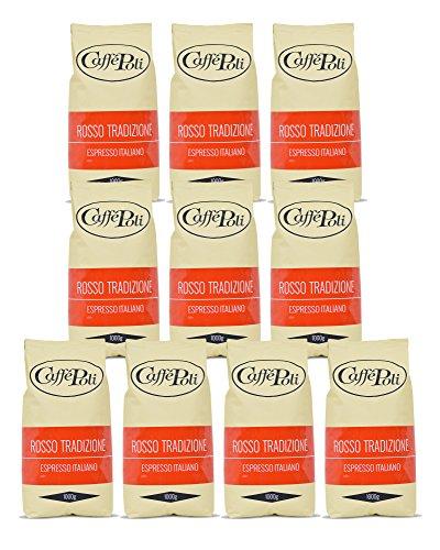 Caffè Poli Rosso Tradizione Espresso Italiano | Hervorragend für Kaffeevollautomaten, Siebträger und Espressomaschine | Kaffee-Bohnen aus Italien (10 x 1 kg Packung)