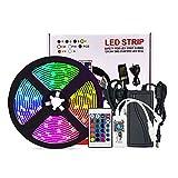 tira luz led, tira luz a prueba agua colorida inteligente 5050RGB wifi, juego tira luz control voz la aplicación del teléfono móvil- [IP20 versión desnuda no es resistente al agua]-150 luces-juego 5M